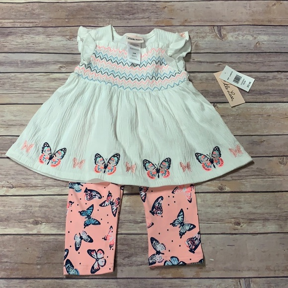 NWT Little lass 2 piece butterfly outfit